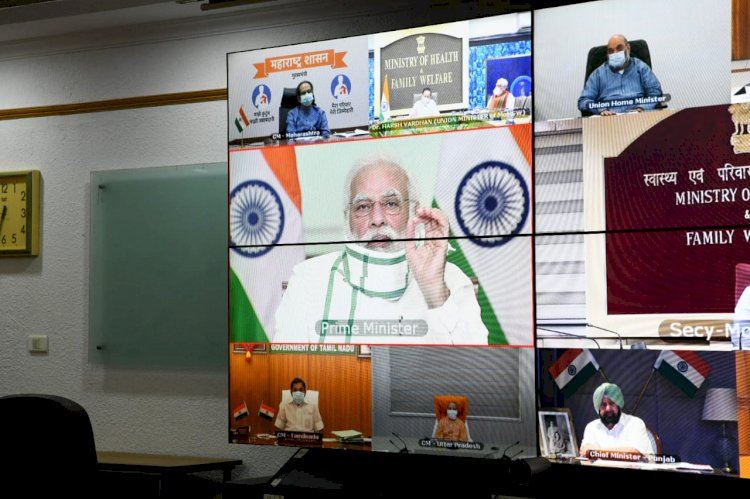 PRIME MINISTER NARENDRA MODI HOLDS VIDEO CONFERENCE WITH CHIEF MINISTERS OF DIFFERENT STATES