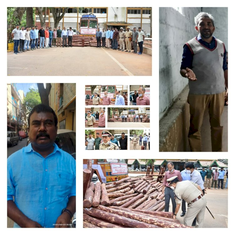 Red Sanders Smuggling racket busted,Two Inter-State Smugglers arrested,9135Kg Sandalwood logs Worth Rs.4.5 Crore Recovered